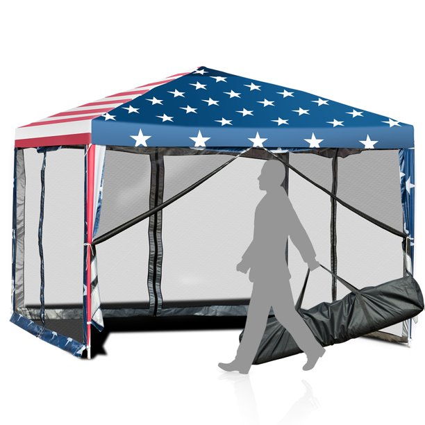 Costway 10'x10' Fodling Pop Up Tent Gazebo Canopy Mesh Sidewall
