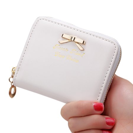 - Women Simple Short-style Clutch Bag Bowknot Decoration Zipper Handbag