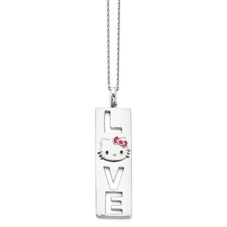 2880ec14b Jewelry Stores Network - Sterling Silver Hello Kitty Enamel Pink Bow  Collection Necklace 50x14mm 18 Inches - Walmart.com