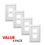 Value 4-Pack Duplex Outlet Wall Plate Decorative Cottage White Wood Wallplate