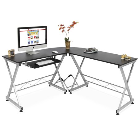 Best Choice Products Modular Wooden Sectional L-Shaped Workstation for Home, Office, Study with Wooden Tabletop, Metal Frame, Pull-Out Keyboard Tray, PC Tower Stand, Black