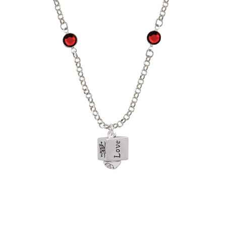 Chinese Symbol Love Square Spinner Red Crystal Fiona Necklace