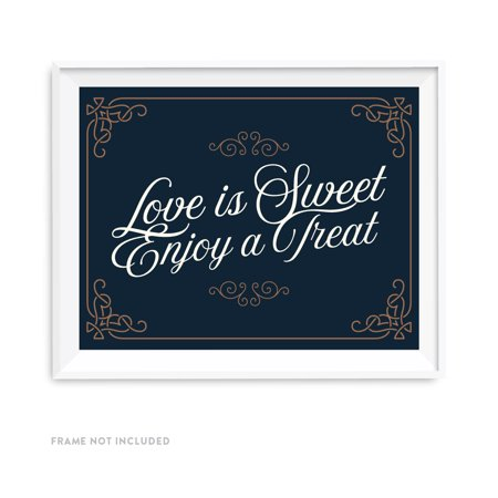 Navy Blue Art Deco Vintage Party Signs, Love is Sweet, Enjoy a Treat Dessert Table Sign, 8.5x11-inch - Diy Dessert Table