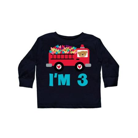 3rd Long Sleeve (3rd Birthday Fire Truck Toddler Long Sleeve T-Shirt)