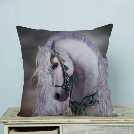 GCKG Artistic White Horse Pillow Case Pillow Cover Pillow Protector Two Sides 18 x 18 - Protector Horse