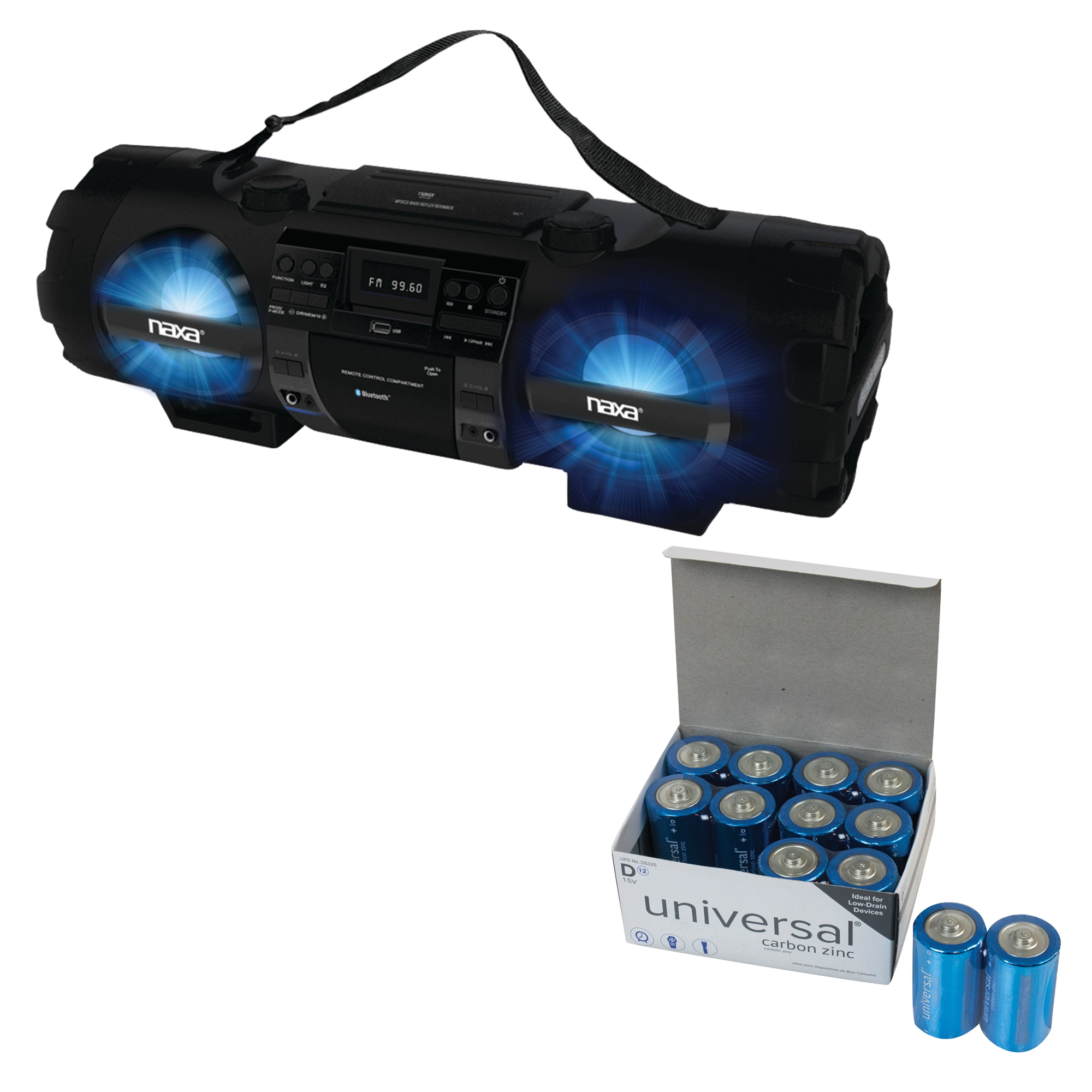 Naxa NPB-262 CD/MP3 Bass Reflex Boom Box & PA System With Bluetooth & UPG D 12 PACK