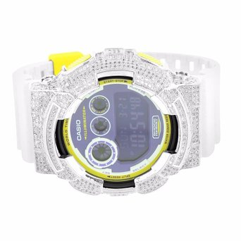 G Shock GD120CS-6 Mens Watch Yellow White Digital Analog Lab Created Cubic Zirconia Custom Made