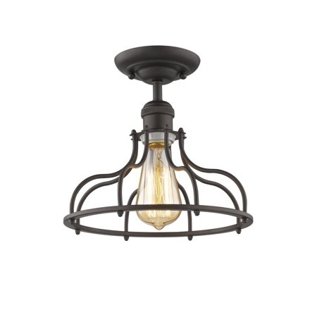 "CHLOE Lighting JAXON Industrial-style 1 Light Rubbed Bronze Semi-flush Ceiling Fixture 10"" Wide"