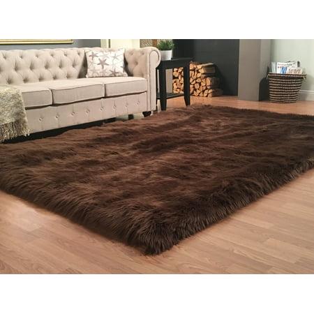 Lambzy Faux Sheepskin Silky Shag Rug, Brown 3'6