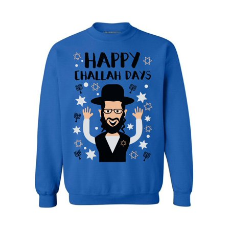 Awkward Styles Happy Challah Days Sweatshirt Hanukkah Ugly Sweater Funny Holiday Crewneck Sweatshirt Jewis Holidays Jewish Sweater Funny Hanukkah Gifts Chanukah Ugly Sweater David's Star Sweater (Funny Ugly Sweaters)