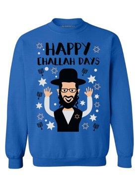 22111f9e8 Product Image Awkward Styles Happy Challah Days Sweatshirt Hanukkah Ugly  Sweater Funny Holiday Crewneck Sweatshirt Jewis Holidays Jewish
