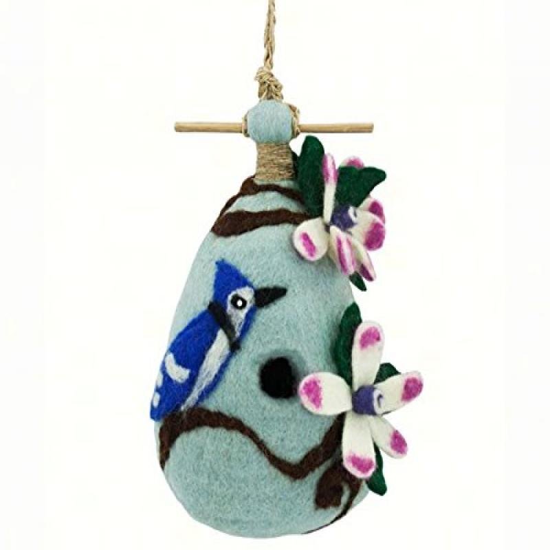 DZI Handmade Designs DZI484028 Chinaberry Blue Jay Felt Birdhouse
