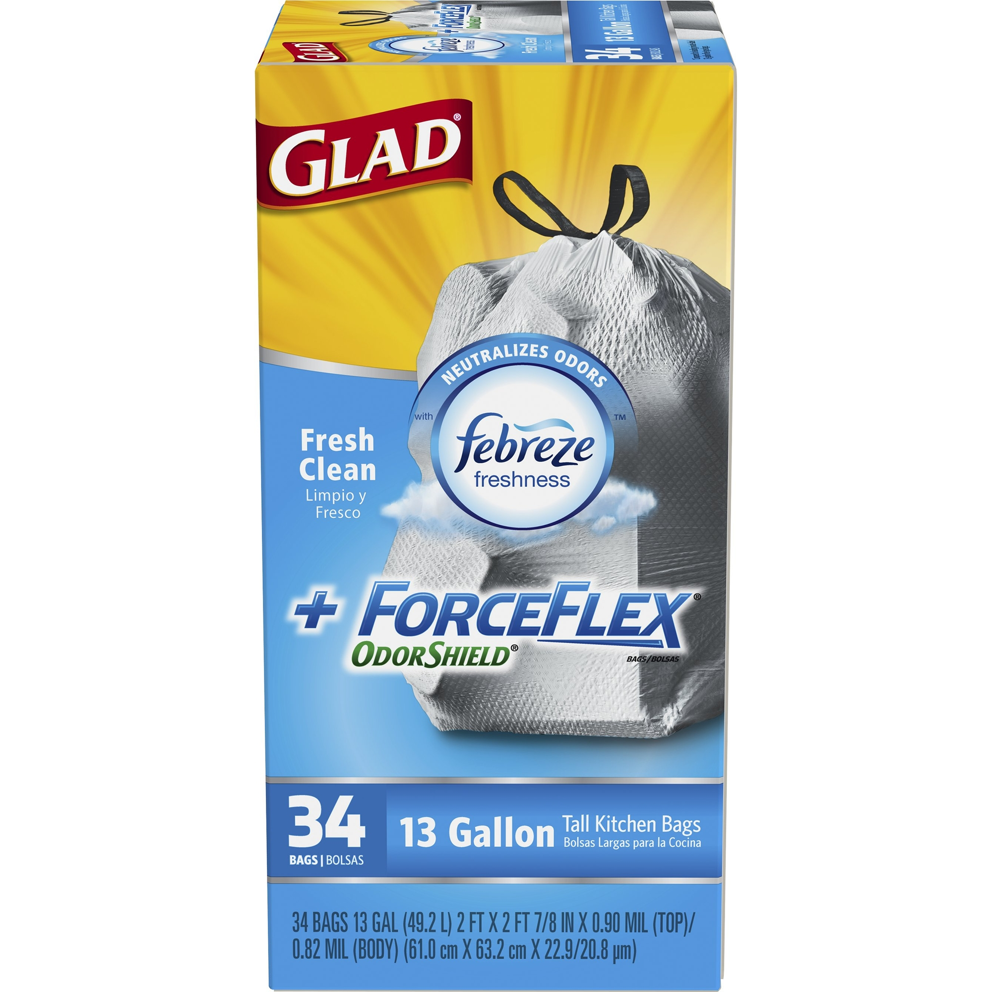 Glad ForceFlex OdorShield Tall Kitchen Drawstring Trash Bags, Fresh Clean, 13 Gallon, 34 Count