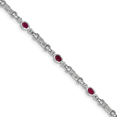 Sterling Silver African Ruby & Diamond Bracelet by Jewelrypot