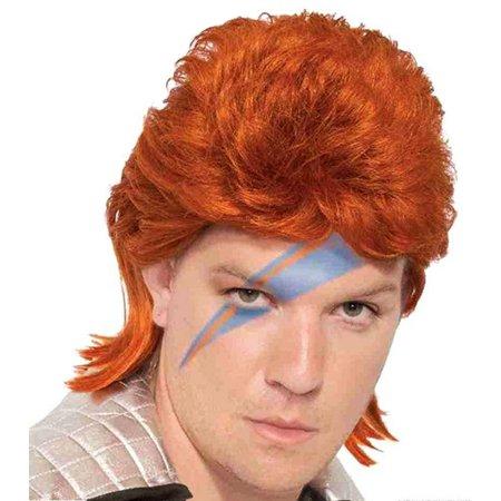 Orange David Bowie Rock Star Adult Costume Wig