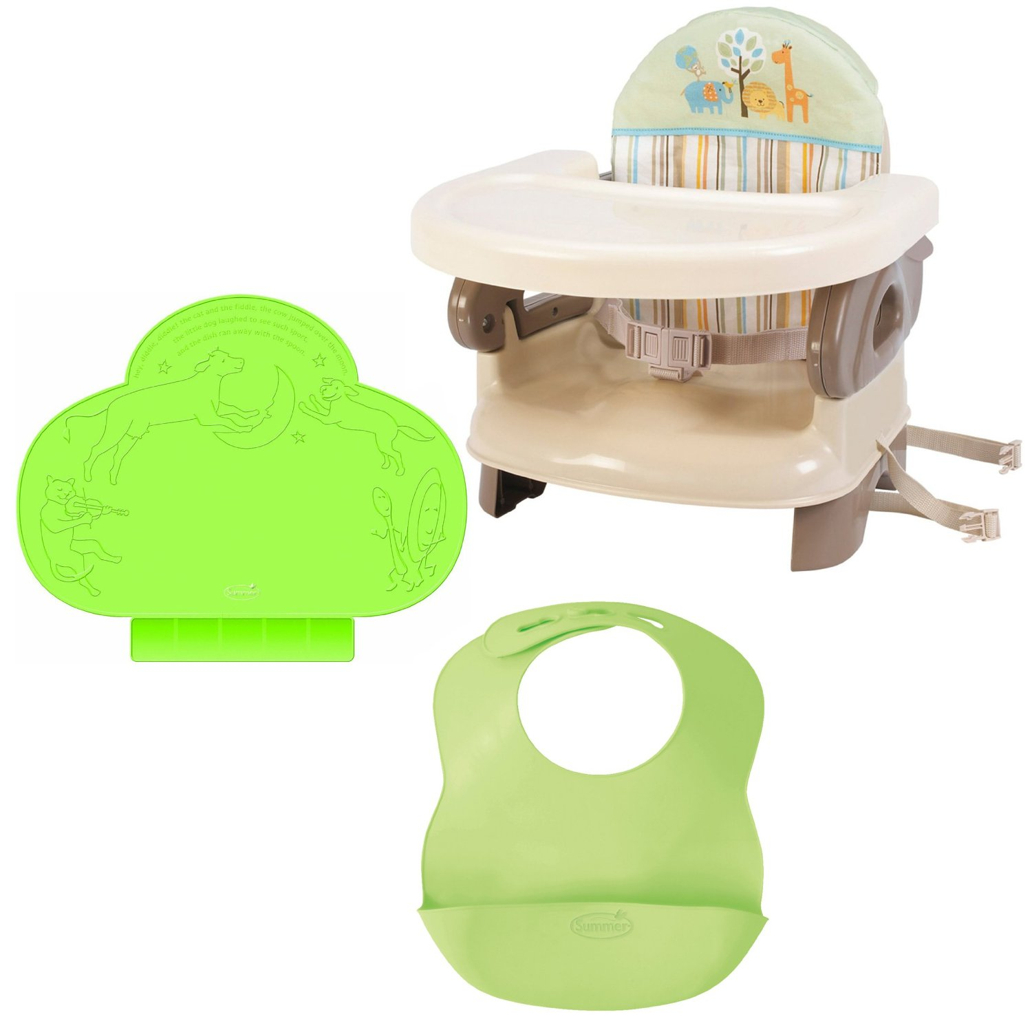 Summer Infant Safari Deluxe Comfort Booster with TinyDiner Placemat and Bibs