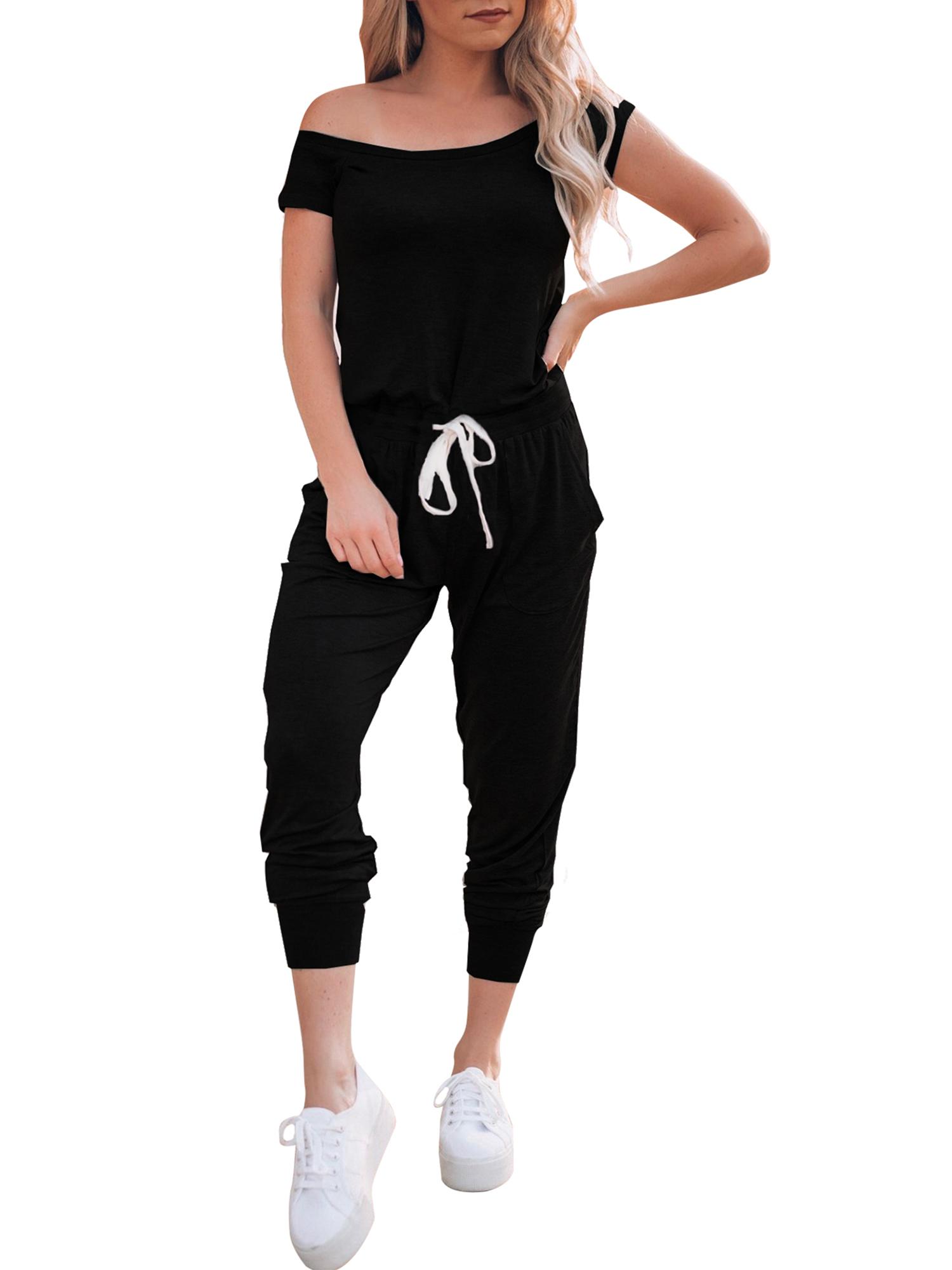 Womens Off Shoulder Harem Jumpsuit Short Sleeve Casual Full Long Bodysuit Romper