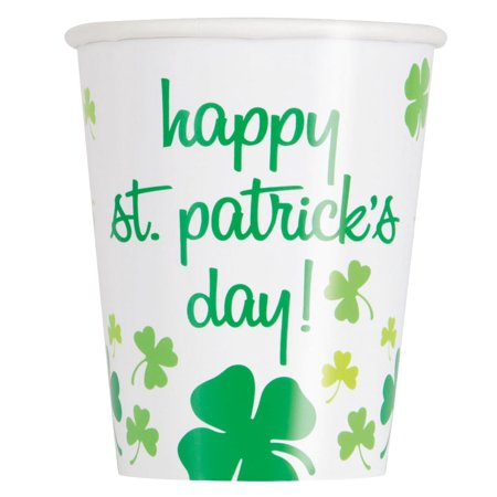 9oz St. Patrick's Day ainbow Shamrock Paper Cups, 8ct