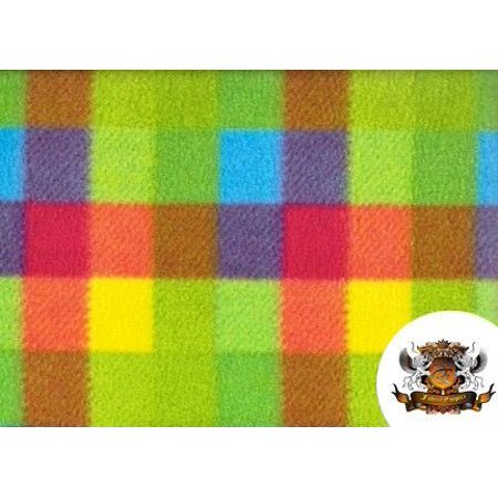 "Fleece Printed Fabric ^ MULTICOLOR SQUARES ^ / 58"" Wide / Sold by the yard"