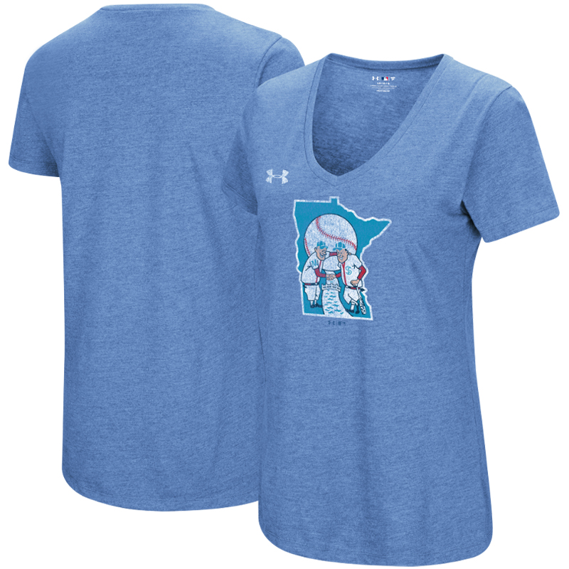 Minnesota Twins Under Armour Women's Cooperstown Collection Logo Performance Tri-Blend V-Neck T-Shirt - Heathered Light Blue