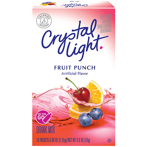 Crystal Light On The Go Fruit Punch Drink Mix, 10 Ct