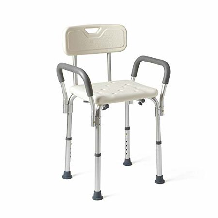 Medline Shower Chair Bath Seat with Padded Armrests and Back, Supports up to 350