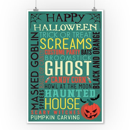 Happy Halloween - Typography with Pumpkin - Lantern Press Artwork (9x12 Art Print, Wall Decor Travel Poster) - Happy Halloween Artwork