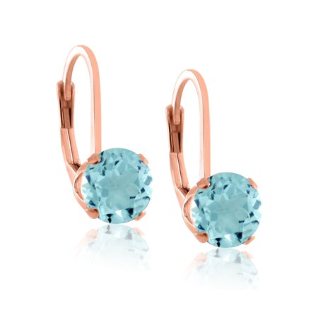 Rose Gold Plated Sterling Silver 5mm Brilliant Round Blue Aquamarine CZ Lever Back Dangling Earrings