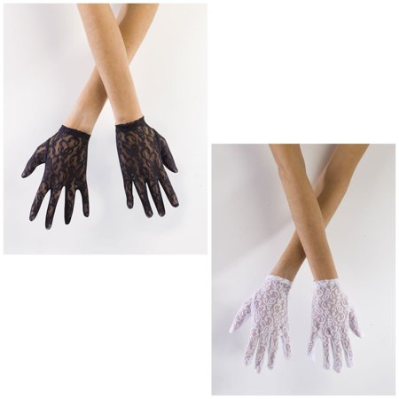 80's Black White Lace Short Gloves Punk Pop Madonna Adult Costume Accessory - Black Lace Gloves