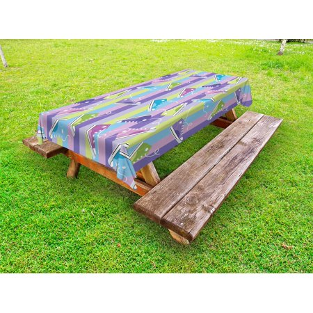 Retro Outdoor Tablecloth, Different Colored Sneakers on Vertically Striped Backdrop Youth Footwear Fashion, Decorative Washable Fabric Picnic Table Cloth, 58 X 84 Inches,Multicolor, by (Retro Gym)