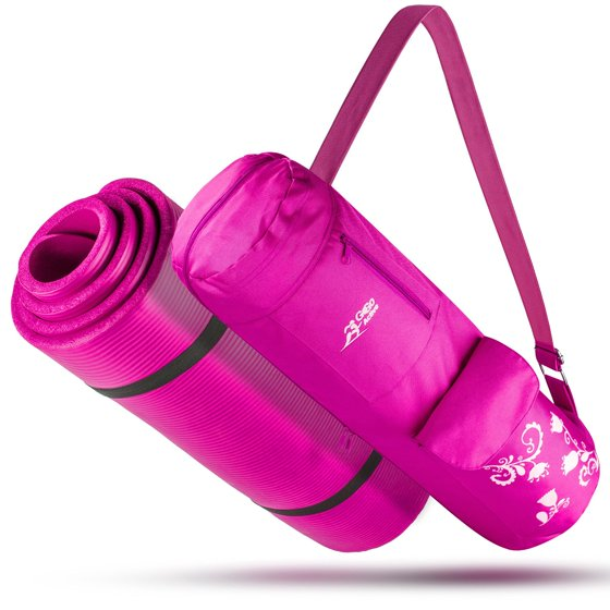 Yoga Mat With Carrying Strap Matching Bag Hot Pink For Pilates Fitness