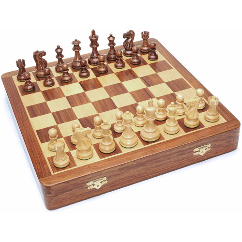 "Deluxe English Style Chess Set in Wooden Case, Felt Storage for Handcarved Pieces and Wooden Board, 17"" by Generic"