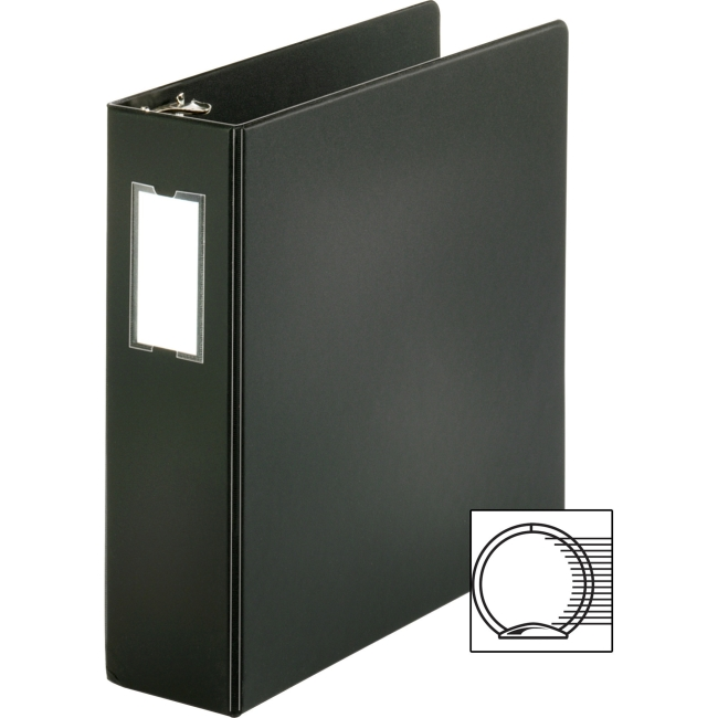 "Business Source 3-Ring Binders w/ Label Holders - 3"" Binder Capacity - Letter - 8 1/2"" x 11"" Sheet Size - 3 x Round Ring Fastener(s) - Vinyl - Black - Recycled - 1 Each"