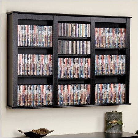 Hawthorne Collections Triple Floating Media Wall Storage in Black