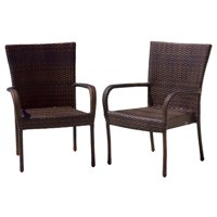 Kailua Outdoor Contemporary Wicker Stacking Chairs (Set of 2), Multi-Brown