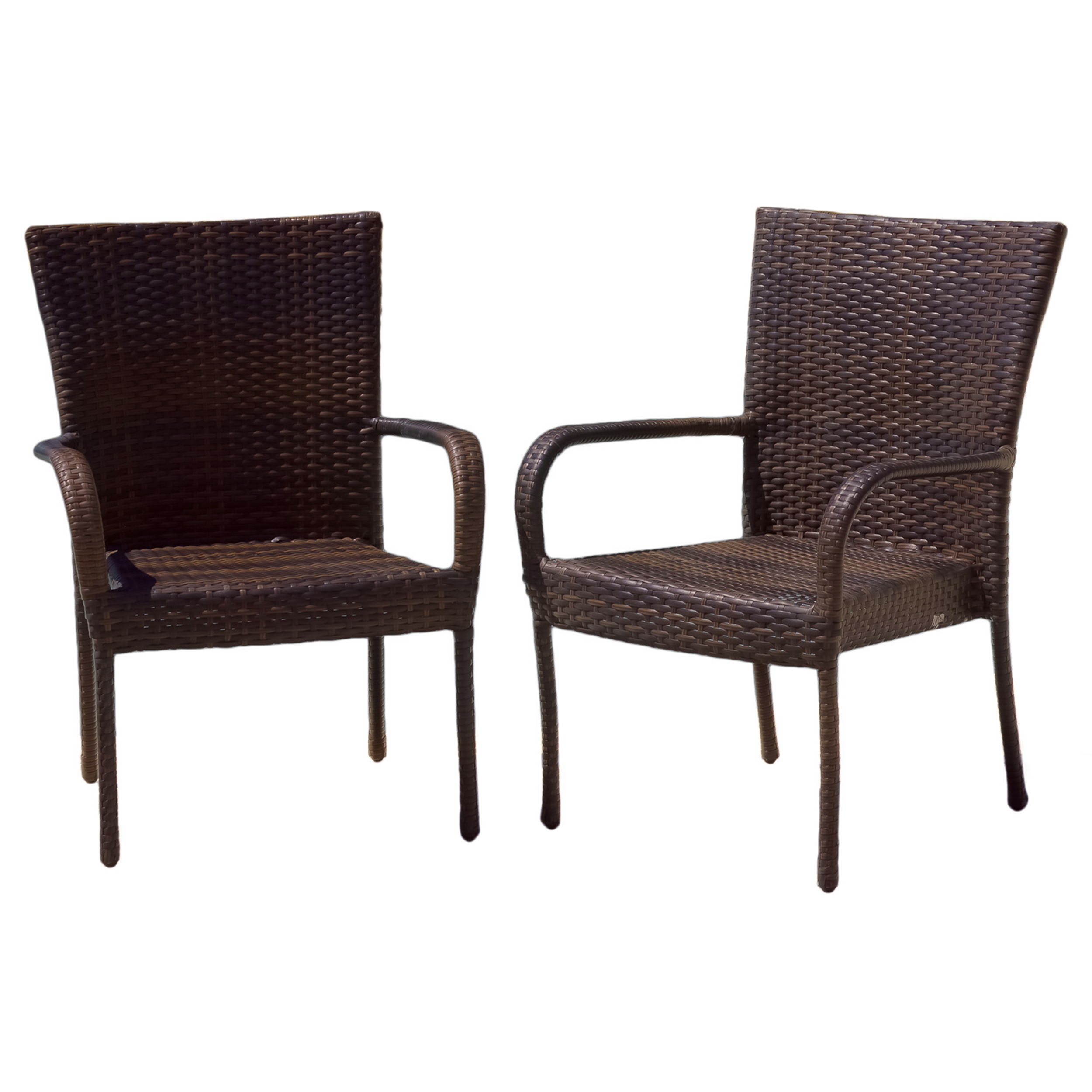 Kailua Outdoor Wicker Dining Arm Chairs, Set Of 2, Multiple Colors