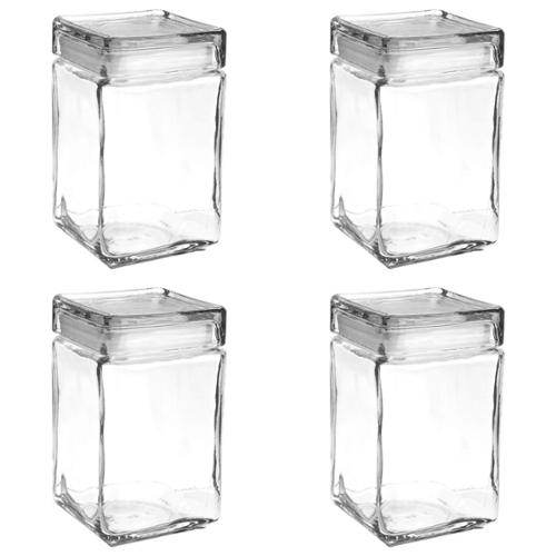 Set of 4 Anchor Hocking Stackable Glass Storage Jars Containers Airtight Seal Food Storage Canister 1.5 quarts