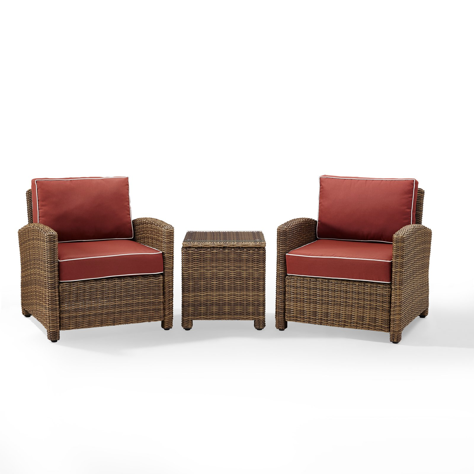 Crosley Furniture Bradenton 3-Piece Outdoor Wicker Conversation Set with Navy Cushions - Two Arm Chairs & Side Table