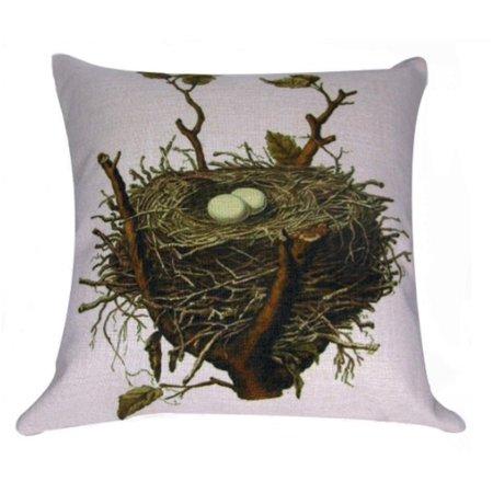 "Vintage Springtime Bird Nest Antique Style Decorative Accent Throw Pillow with Insert 18"""