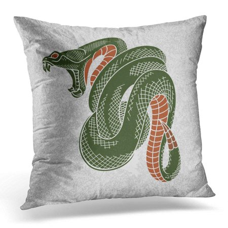 ARHOME Rock Tattoo Viper Snake Ink Technique Sticker Tee Design Cobra Vintage Pillow Case Cushion Cover 16x16 Inches ()