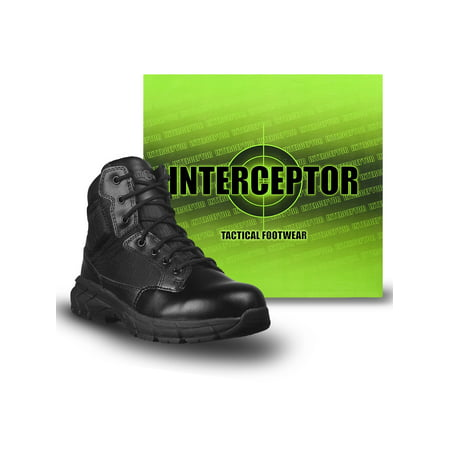 Interceptor Men's Guard Zippered Ankle High Work Boots, Slip Resistant, - Black Pirate Boots