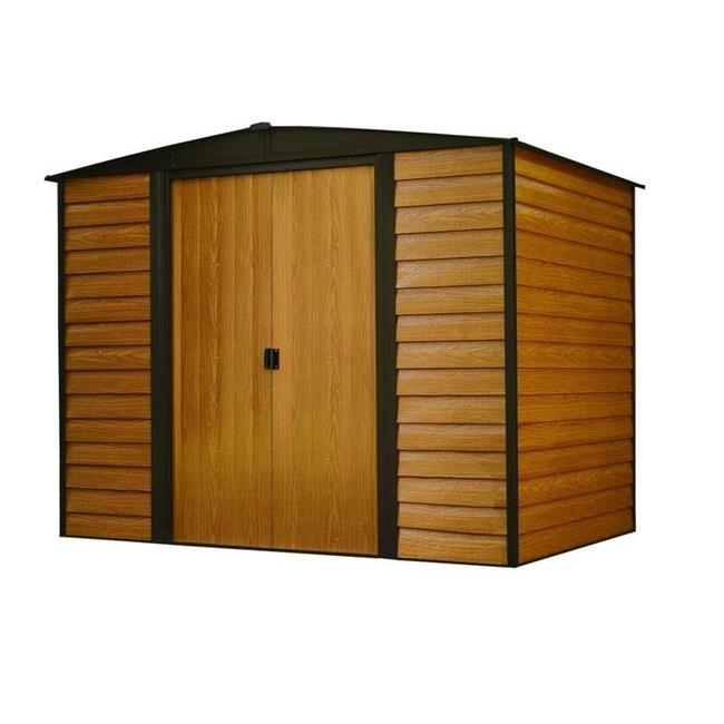 8 x 6 ft. Electro Galvanized Arrow Woodridge Steel Storage Shed, Coffee & Woodgrain