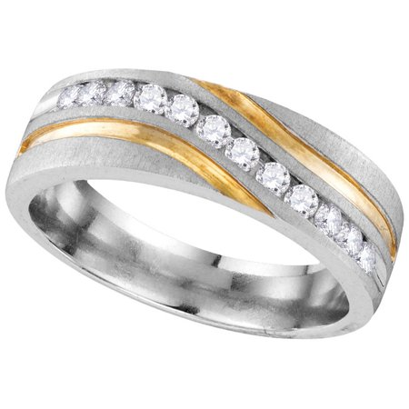 (10k White Gold Mens Natural Round Diamond 2-tone Wedding Anniversary Band Ring (.25 cttw.) size- 10.5)