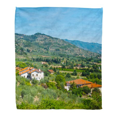 SIDONKU Throw Blanket Warm Cozy Print Flannel Tuscany Village Between Olive Trees and Vineyards Italian Landscape Farmhouses Comfortable Soft for Bed Sofa and Couch 50x60 -