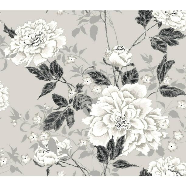 Vintage Floral Gray Peel Stick Wallpaper By Drew Barrymore Flower Home Walmart Com Walmart Com