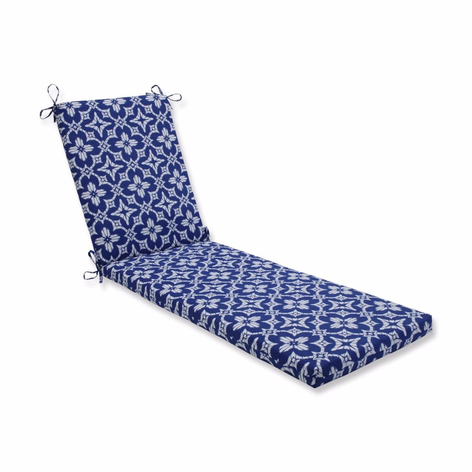 """80"""" Blue Geometric UV Resistant Outdoor Patio Chaise Lounge Cushion with Ties"""