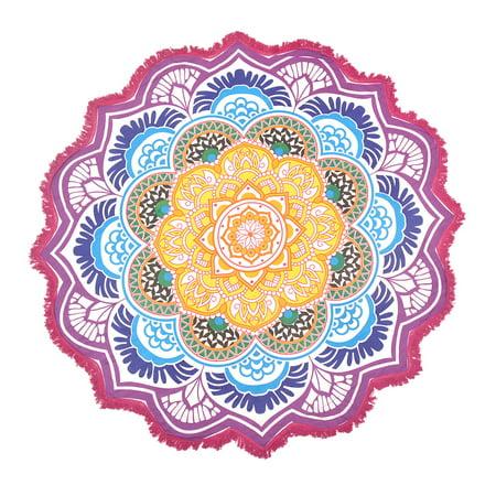 Multicolor Round Beach Towel Mandala Roundie Tassel Colorful Picnic Blanket Meditating Yoga Mat Boho Round Tapestry 72