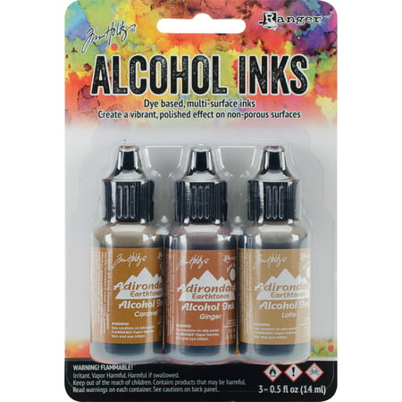Tim Holtz Alcohol Ink .5oz 3/Pkg-Cabin Cupboard-Caramel/Ginger/Latte