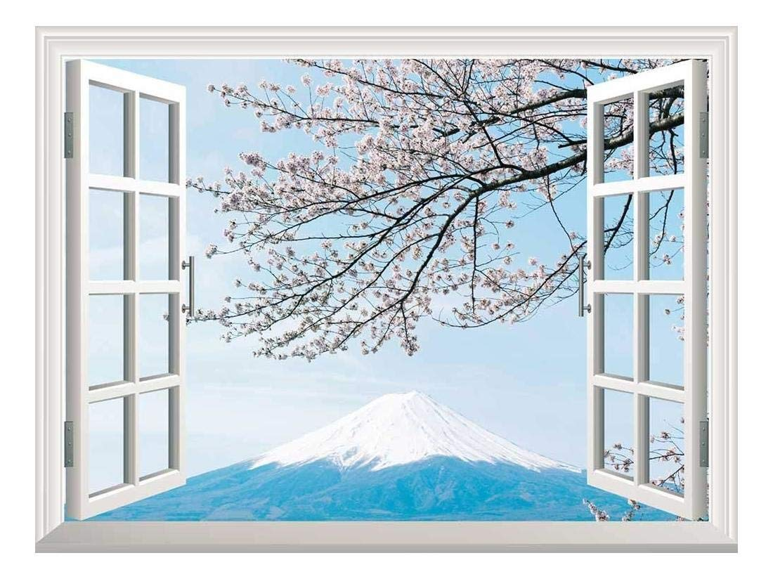 """wall26 Removable Wall Sticker/Wall Mural - Mt Fuji with Cherry Blossom 