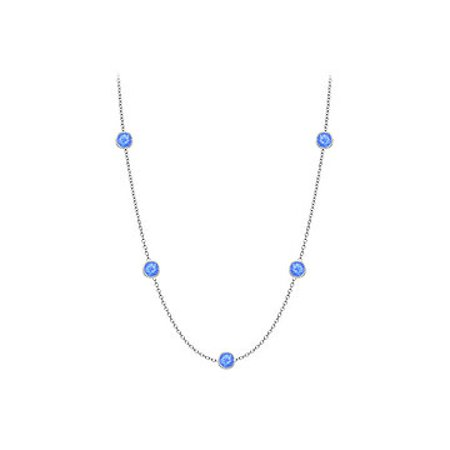 Blue Created Sapphires Necklace on 14K White Gold Bezel Set 10.00 ct.tw - image 1 de 2
